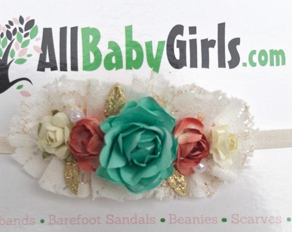 Baby Headband, Vintage Headband, Flowers Headband, Baby Head Wraps, Newborn Headband, Infant Headbands, Flower Girl Headband, Flower Girl