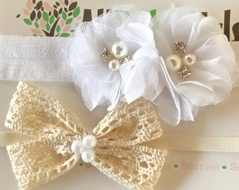 Beige Bow Baby Headband, White Infant Headbands, Flower Headband, Bow Headband, White Flower Headband, Beige Bow Headband, Infant Headband