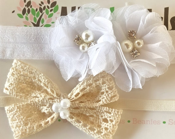 Beige Bow Baby Headband, White Infant Headbands, Flower Headband, Bow Headband, White Flower Headband, Beige Bow Headband, Infant Headband