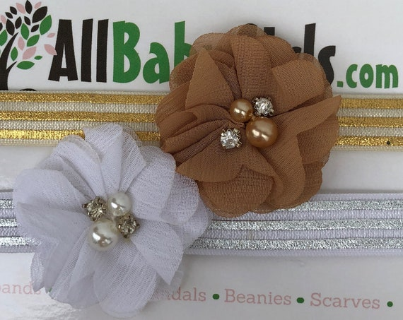 Gold Baby Headband, White Baby Headband, Infant Headbands, Flower Headband, Gold Flower Headband, White Flower Headband, Infant Headband