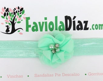 Mint Flower Headband, Mint Headband, Mint Infant Headband, Mint Baby Headband, Girl Headband Flowe, Baby Head Warp, Flower Headband, Pearls
