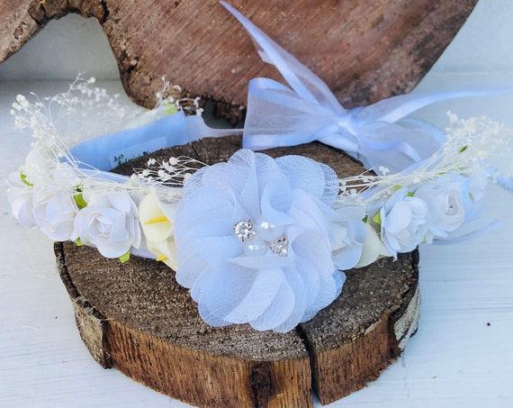 White Flowers Crown, Newborn Crown, Infant Flower Crown, Baby Flower Crown, Newborn Flower Crown, Flower Girl Crown, Flower Headband