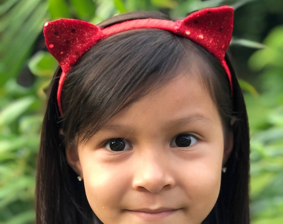 Red Sequin Cat Ears Headband,  Red Ears Headband, Red Sequin Cat Ears,  Red Cat Ears, Ears Headband, Girls Headband, Cat Headband