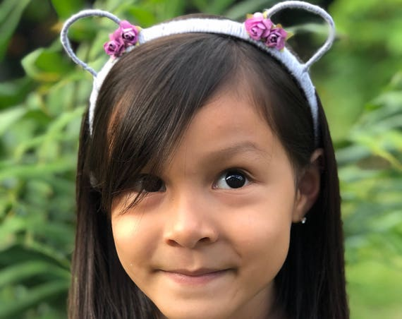 Bear Ears Headband, Cat Ears Headband, Gray Ears Headband, Purple Flowers Headband, Bear Headband, Cat Headband, Animal Ear Headband