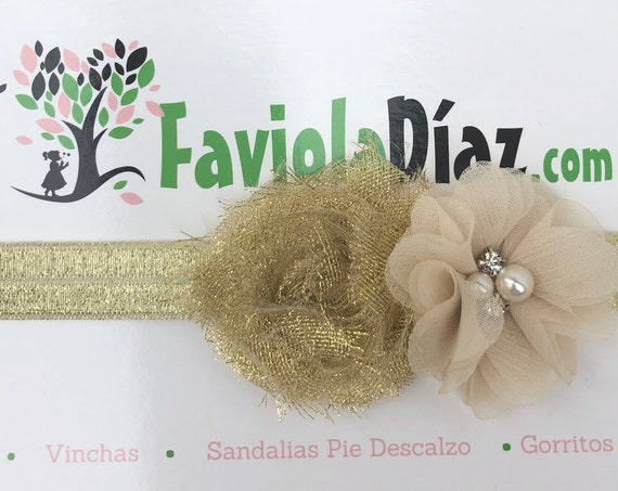 Gold Beige Headband, Flower Headband, Baby Headband, Newborn Headband, Infant Headband, Baby Girl Headband, Baby Head Wrap, Toddler Headband