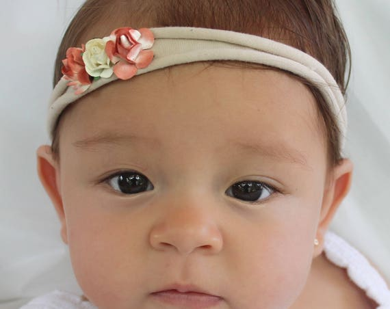Flowers Headband, Nude Headband, Birthday Headband, Baby Headband, Infant Headbands, Coral Headband, Flower Headband Baby, Baby Headpiece
