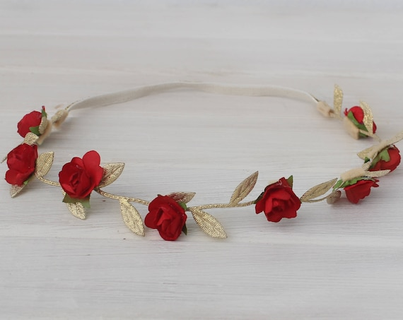 Baby Crown, Baby Headband, Red Headband, Grecian Headband, Flowers Headband, Gold Headband, Greek Headband, Newborn Headband