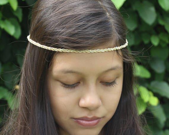 Gold Boho Headband, Gold Girl Headband, Adult Boho Headband, Bohemian Headband, Forehead Headband, Halo Headband, Bridal Boho, Gold Headband