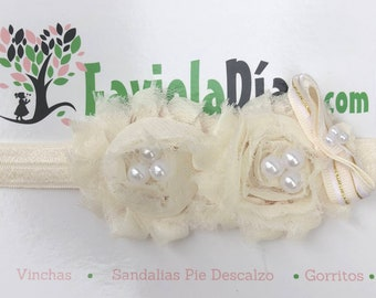 Beige Headband, Flower Headband, Baby Headband, Newborn Headband, Infant Headband, Baby Girl Headband, Baby Head Wrap, Toddler Headband,