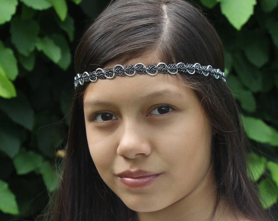 Silver Boho Headband, Black Headband, Adult Boho Headband, Bohemian Headband, Forehead Headband, Halo Headband, Silver Headband