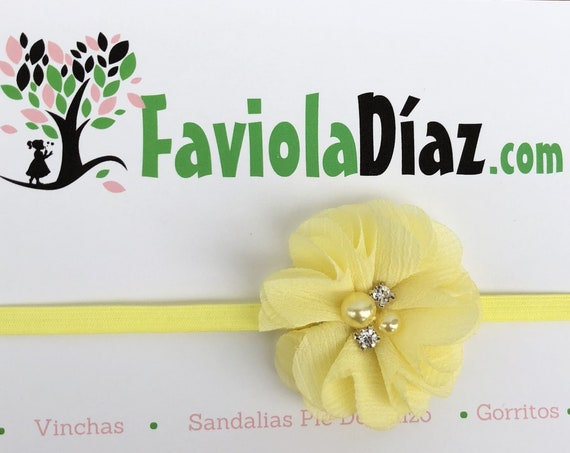 Yellow Flower Headband, Newborn Headband, Infant Flower Headband, Baby Flower Headband, Newborn Flower Headband, Flower Girl Headband