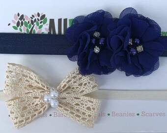 Beige Bow Baby Headband, Blue Infant Headbands, Flower Headband, Bow Headband, Blue Flower Headband, Beige Bow Headband, Infant Headband