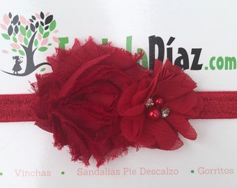 Red Headband, Flower Headband, Baby Headband, Newborn Headband, Infant Headband, Baby Girl Headband, Baby Head Wrap, Toddler Headband,