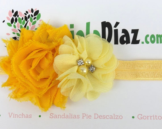 Yellow Headband, Flower Headband, Baby Headband, Newborn Headband, Infant Headband, Baby Girl Headband, Baby Head Wrap, Toddler Headband