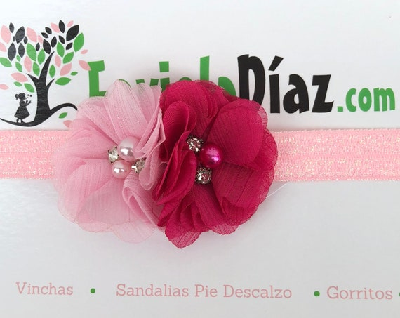Red Pink Headband, Flower Headband, Baby Headband, Newborn Headband, Infant Headband, Baby Girl Headband, Baby Head Wrap, Toddler Headband