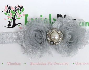 Silver Flower, Baby Flower Headband, Baby Headband, Newborn Headband, Infant Headband, Baby Girl Headband, Baby Head Wrap, Toddler Headband,