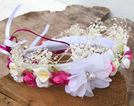White and Fuchsia, Flower Crown, Newborn Crown, Infant Flower Crown, Baby Flower Crown, Newborn Flower Crown, Flower Girl, Flower Headband