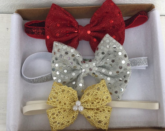 Bow Baby Headband, Infant Headbands Set, Sequin Headband, Red Bow Headband, Silver Bow Headband, Gold Bow Headband, Infant Headband