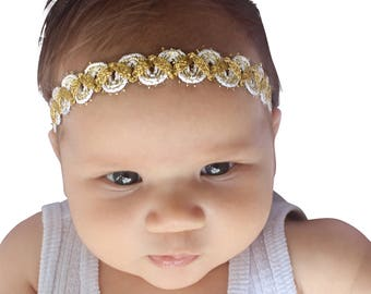 Girls Gold Headband, Halo Headband, Baby Headband, Christening Headband, Toddler Headband, Baby Headband Gold, Infant Gold Headband