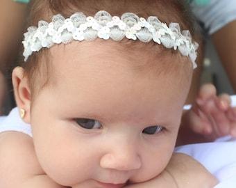 Ivory Baby Headband, Ivory Headband, Infant Headbands, Baby Headband, Halo Headband, Baptism Headband, Beige Headband, Newborn Headband