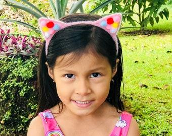 Cat Headband, Pink Cat headband, Cat Ears, Ear Headband, Cat Costume, Pom Poms Headband, Handmade Headband, Birthday Girl Headband