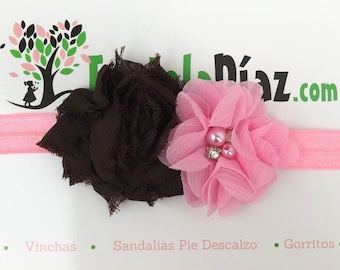 Pink Flower Headband, Pink Brown Flower, Brown Headband,  Baby Headband, Baby Head Wraps, Flower Headband, Baby Girl Headband, Baby Headwrap