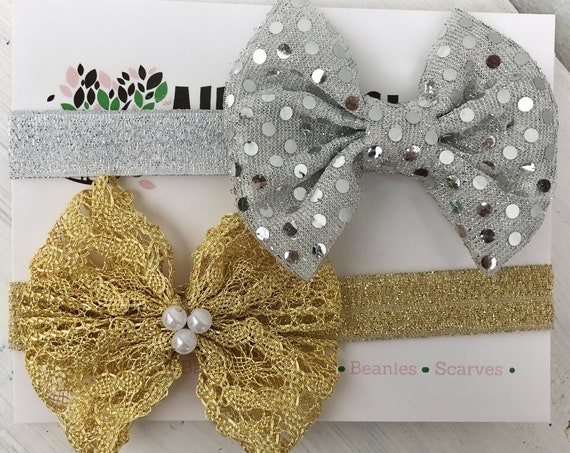 Gold Baby Headband, Silver Baby Headband, Infant Headbands, Bow Headband, Gold Bow Headband, Silver Bow Headband, Infant Headband