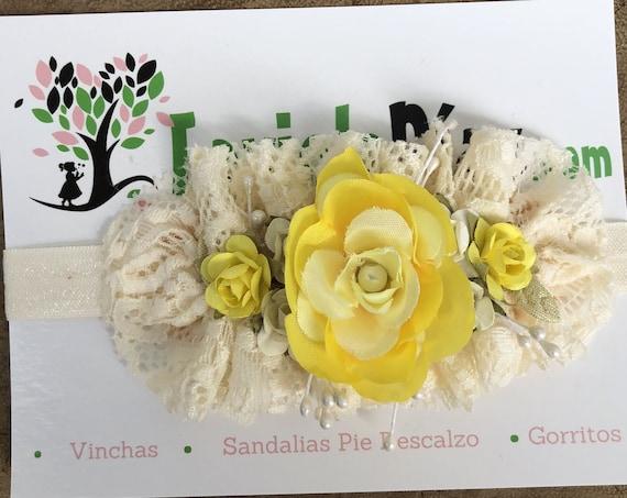 Yellow Flower Headband, Baby Girl Headband, Baby Headband, Lace Baby Headband, Flower Headband, Flower Headband Baby, Flower Headpiece