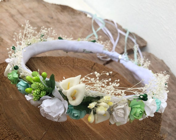 White and Green, Flower Crown, Newborn Crown, Infant Flower Crown, Baby Flower Crown, Newborn Flower Crown, Flower Girl, Flower Headband