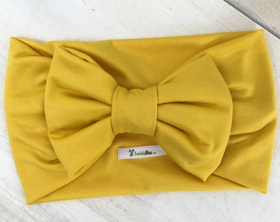 Bow Headband, Yellow Headband, Baby HeadWrap, Baby Headband Bow, Yellow Turban, Yellow Bow Headband, Hair Wrap, Headband, Baby Head Wrap