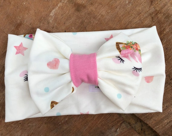 Unicorn Bow, Baby Headband Bow, Baby Turban Headband, Toddler Head Wrap, Baby Turban, Lace Baby Headband, Turban Baby Headband, Head Wrap
