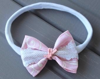 Pink Bow Headband, Baby Pink Bow, Baby Headband, Newborn Headband, Infant Headband, Baby Girl Headband, Baby Head Wrap, Toddler Headband