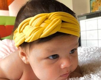 Yellow Baby Headband, Baby Knot Headband, Turban Headband, Baby Girl Headband, Baby Headband, Newborn Headband, Infant Headband