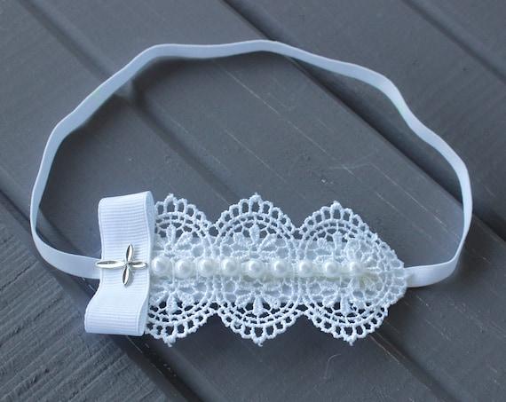 Baptism Headband, White Headband, Christening Headband, Baby Halo Headband, Baby Lace Headband, White Baby Headband, Pearls Headband