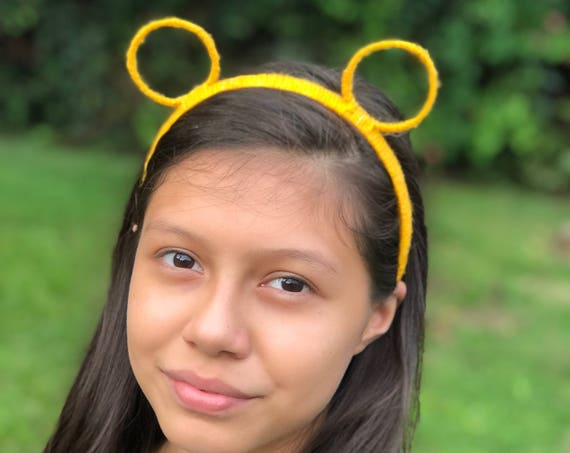Yellow Ears Headband, Bear Ears Headband, Cat Ears Headband, Yellow Headband, Bear Headband, Round Ears, Cat Headband, Animal Ear Headband