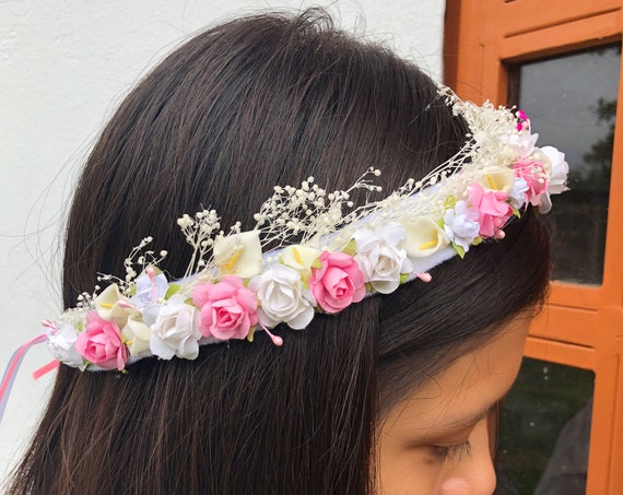 White and Pink, Flower Crown, Newborn Crown, Infant Flower Crown, Baby Flower Crown, Newborn Flower Crown, Flower Girl, Flower Headband