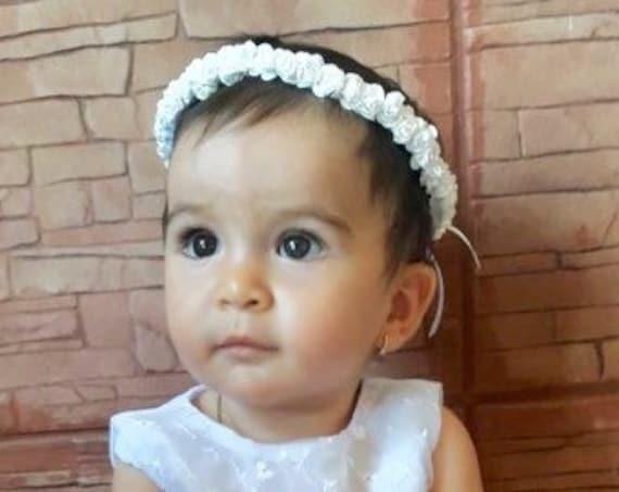 Baptism Crown, Flowers Baby Headband, White Crown, White Crown, Bridesmaid Crown, Flowers Girls, Woodland Halo, Infant Headband