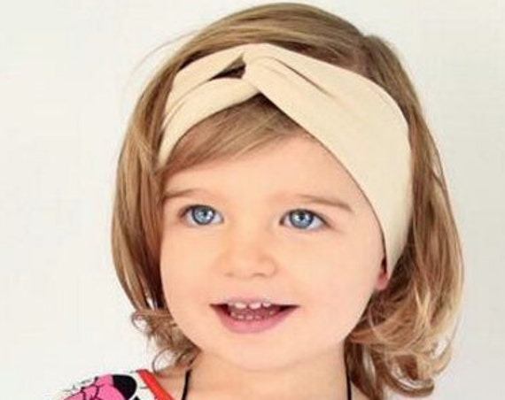 Turban Headband, Beige Headwrap, Girl Head wrap, Head wrap for Girls, Toddler Headband, Baby Headband, Baby Shower Headband