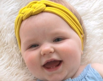 Baby Knot Headbands, Yellow Knot Headband, Color Mustard Headband, Turban Headband, Baby Headwrap, Newborn Headband, Fabric headwrap