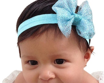 Baby Headband, Bow Headband, Blue Headband, Baby Girl Headband, Newborn Headband, Infant Headband, Headband, baby bows, Toddler Headband