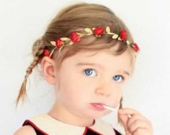 Baby Red Headband, Baby Headband, Red Headband, Grecian Headband, Flowers Headband, Gold Headband, Greek Headband, Newborn Headband
