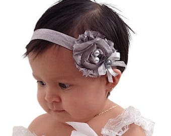 Silver Headband, Flower Headband, Toddler Headband, Baby Headband, Babies Headband, Infant Headbands, Newborn Headband, Silver Headbands