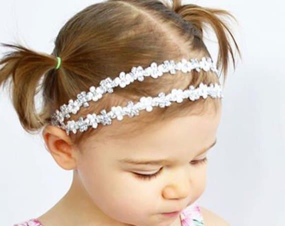 Infant headband, silver headband, baby headband, headband, newborn headband, baby girl headband, infant headband, silver baby headband