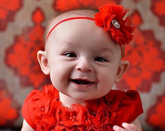 Christmas Headband, Red Baby Headband, red headband, Red Headband baby, Baby headband, Flower Headband, Flower Red Headband, Flower Headband