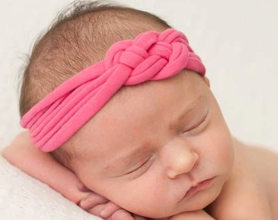 Baby Girl Headband, Knot Headband, Pink Headband, Infant Turban, Baby Headband, Infant Headbands, Newborn Headwrap, tied baby headband