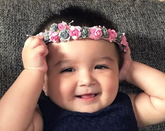 Baby Girl Crown, Birthday Girl Crown, Flowers Crown, Summer Headband, Pink Headband, Infant Headband, Flowers Headband, Birthday Crown