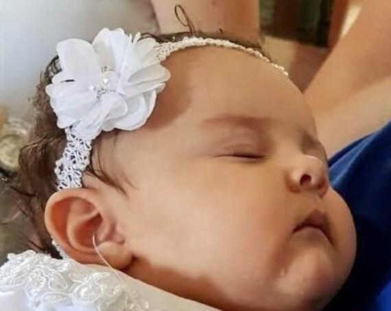 White Flower Headband, Newborn Headband, Infant Flower Headband, Baby Flower Headband, Newborn Flower Headband, Flower Girl Headband