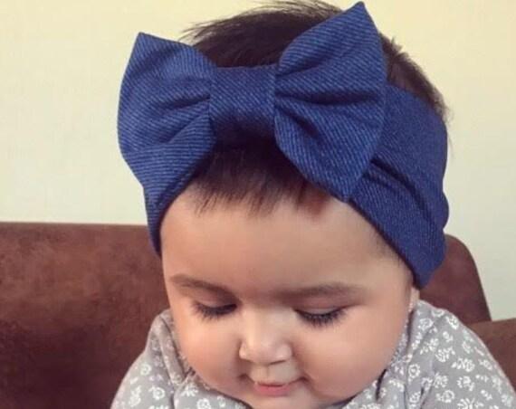 Blue Bow Headband, Baby Headband Bow, Baby Turban Headband, Toddler Head Wrap, Baby Turban, Baby Headband, Newborn Headband, Infant Headband