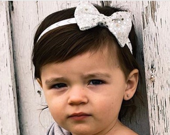 Baby Girls Bows, Baby Bows, Silver Headband, Baby Bow Headband, Baby Headband, Bow Headband Baby,  Baby Girl Headband, Newborn Headband
