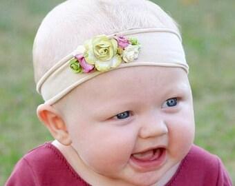 Infant Headbands, Beige Headband, Baby Headband, Flower Headband, Green Headband, Headband Flower, Jersey Headband, Newborn Headband